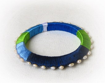 Thread Wrap Bangle, Trendy bracelet, Boho chic bracelet, Blue bracelet