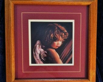 Angel Looking Down - Beautifully Matted And Framed Nancy Noel Certified Print