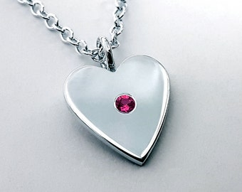 Ruby Heart Necklace Pendant in Sterling Silver - Sterling Silver Heart Necklace, Ruby Heart Pendant, Sterling Silver Heart Pendant