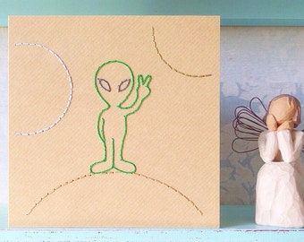 Hand Stitched Alien Card