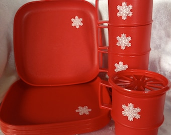 Vintage Red Tupperware Holiday Dishes with Snowflake Design, for Winter Picnic Hot Chocolate, 4 Plates, Cups and Coasters/Lids