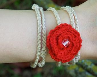 Bracelets with crochet roses
