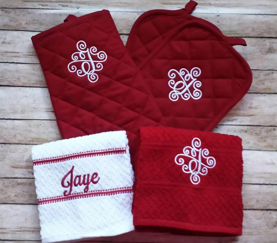 Monogrammed Kitchen Towel Set Monogrammed By Stitchncafe On Etsy