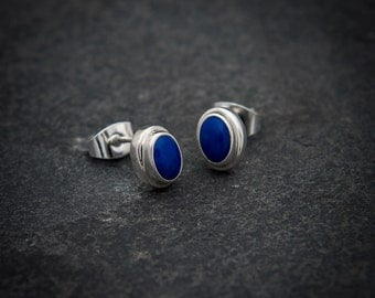 Lapis Earrings, Silver Stud Earrings, Lapis Studs, Blue Stone, Lapis Lazuli, Semi Precious Stone, Gemstone Earrings, Sterling Silver, 925