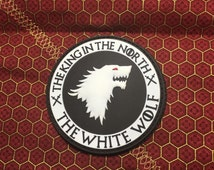 The white wolf. The king in the north pvc morale patch with hook and loop velcro backing