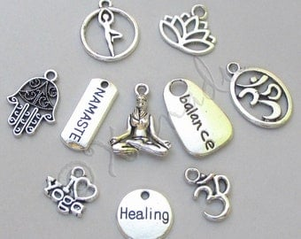Yoga Charms 10PCs Mix - 10/20/50 Lotus Namaste Om Yogi Pendant Findings CM4740