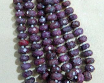 1 Strand  Indian Ruby  Faceted  Natural roundel  beads 8''  40, grams 9X11,  MM