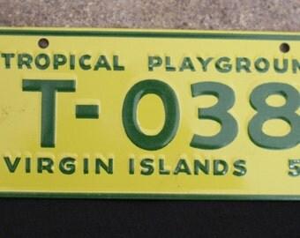 Vintage bike plate, bicycle license plate, Cereal Box Premium, Advertising Virgin Islands 1953