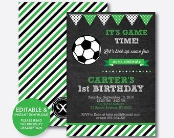 Instant Download, Editable Soccer Birthday Invitation, Soccer Ball Invitation, Football Invitation, Boy Invitation, Chalkboard (CKB.78)