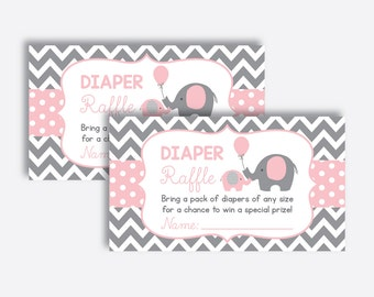 Instant Download, Elephant Diaper Raffle Sign and Ticket, Elephant Invitation Inserts, Elephant Baby Games, Girl Baby Shower, Pink (SBS.36)