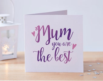 Mother's Day Card, Mothers Day Card, Best Mum Card, Best Mom Card, Mums Day Card, Mum Card, Mom Card, Purple Card, Just Because Card