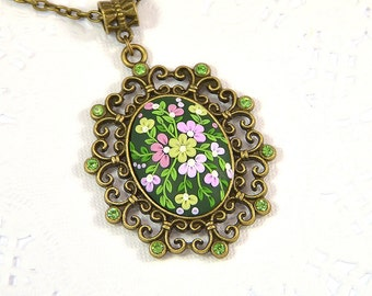 Floral Necklace Pendant applique - Polymer clay jewelry - Romantic Jewelry - Floral Jewelry - Green Pendant Applique