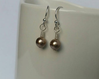 Sterling Silver Light Bronze Pearl Dangle Earring