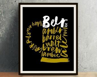 Beer Mug Calligraphy Art - Beer, Beer Art, Beer Print, Beer Decor, Alcohol, Alcohol Art, Calligraphy, Calligraphy Art, Calligraphy Print