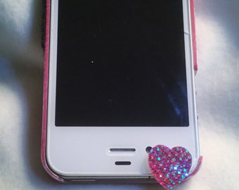 Valentine for your phone.  Sparkling Heart Cell Phone Dust Plug/Deco for IPhone 6. Phone bling/accessory.  Cell phone dust plug.