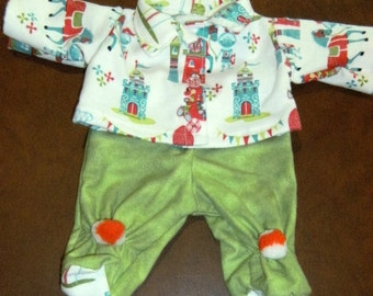 """NEW 14"""" Cabbage Patch Preemie Doll Clothes~Footed PJ's/Pajamas~Baby Dragons/Castle/Knights"""