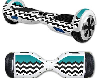 Skin Decal Wrap for Self Balancing Scooter Hoverboard unicycle Teal Chevron