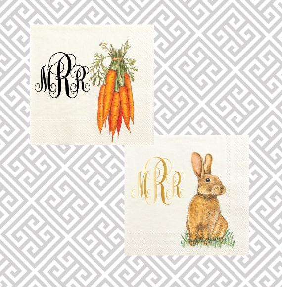 Easter napkins, spring foil stamped napkins, bunny napkins, Easter sunday cocktail napkins, baby shower napkins, Chruch party decor