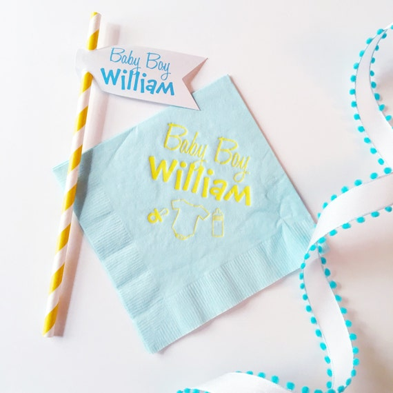 Baby shower napkins, baby shower decorations, baby boy, new addition, party straws, striped straws, baby blue decor, Baby on the way
