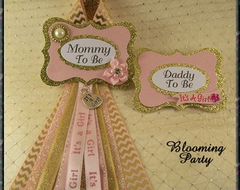 Set of Pink and Gold Mommy To Be Corsage and Daddy To Be Baby Shower Corsages