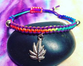 Hemp/Pot Leaf Custom Tye Dye Adjustable Bracelet