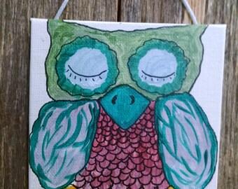 Mini Acrylic Painting of an Owl
