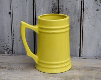 Yellow Vase, Yellow Stein, Farmhouse Vase, Bright Yellow Vase, Yellow Table Decor, Yellow Farmhouse Decor, Yellow Ceramic Vase, Yellow Decor