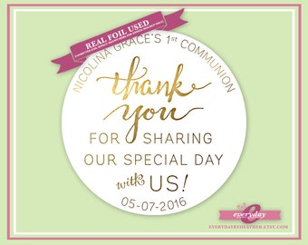 Personalized Foiled Stickers - Thank You For Sharing Our Special Day with Us