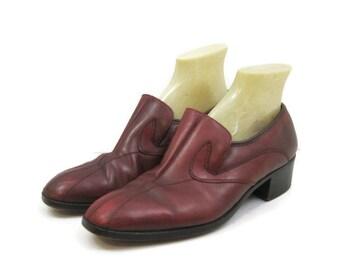 Vintage 70s Shoes Mens Loafer Slip On Oxblood Leather Disco Dress Shoes 9.5