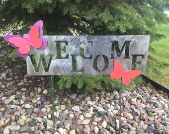 Metal Garden Art Yard Sign with Pink, Purple and Orange Butterflies Welcome Sign