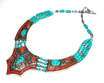Raw stone jewelry, free shipping necklace with coral and turquoise, nepal tribal, tribal jewelry, silver jewelry, tibet jewel