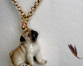 """Mops"" with Pug necklace pendant made of porcelain"