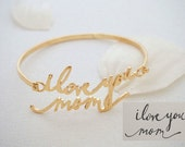 FLASH SALE 20% OFF- Signature Bangle - Handwriting Bangle - Memorial Personalized Jewelry - Bridesmaid Gift - Mother Gift