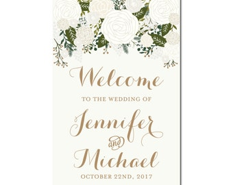 Welcome Wedding Sign, Wedding Welcome Sign, Printable Welcome Sign, Floral Welcome Sign, Reception Sign, Printable Wedding Sign #CL112