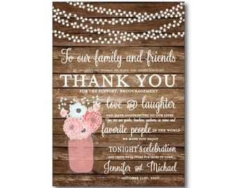 Rustic Thank You Card, Wedding Thank You Card, Thank You Favor, Rustic Wedding, Mason Jar Wedding, Thank You, Thank You Note #CL221