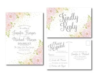 Floral Wedding Invitation & RSVP Postcard Set - Watercolor Floral - Floral Wedding - Rustic Wedding - Watercolor Flower - Wedding Set #CL134