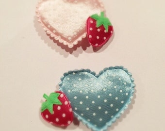 Kawaii heart and strawberry hair pin