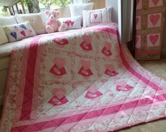 Nine Patch Pink Bonnet Girl Applique Lap Quilt