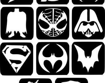 Refill Stencils Only #5 - 11 X Super Hero Glitter Tattoo Stencils Refill Your Glitter Tattoo Kit