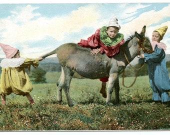 1900s Fantasy Clown Children Donkey Antique Postcard Edwardian Vintage Multi Multiple Babies Victorian Circus