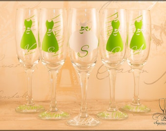 Personalised wedding champagne glasses bride bridesmaid dress bow initial