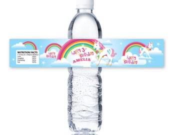 Rainbow Unicorn Water Bottle Label, Customized Printable DIY - Rainbow Unicorn - Girls Birthday Party