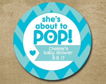 About to POP Baby Shower Stickers, Gift Tags for Baby Shower, Blue Chevron Baby Shower Stickers for a boy, Shes About to Pop Labels