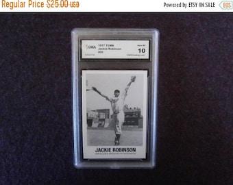 Christmas July Sale CIJ JACKIE ROBINSON Baseball Card 1977 Renata Galasso Gem Mint 10.0