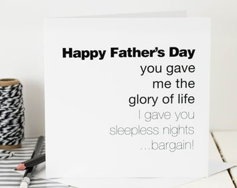 Funny Father's Day Card; 'Glory Of Life'; Card For Dads; GC055