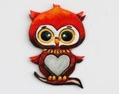 "Refrigerator Magnet Love Owl Leather Figure Valentine's Gift  Unique Handmade Leather Art Gift 3.5 x 5""  Fridge Art. Kitchen Art, Home Decor"