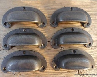 A set of 6 antique style drawer pull handle cast iron pull furniture cup handle CH6