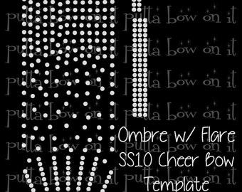Ombre with a Flare ss10 Rhinestone Cheer Bow Strip Template