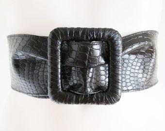 80s • Vintage • Belt • Black Belt • Waist Belt • Black Waist Belt • Womens Belt • Womens Black Belt • Punk • Goth • Croco Print • Fettish