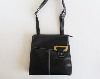 90s • Vintage • Crossbody Bag • Black Crossbody Bag • Faux Leather Bag • Black Bag • Black Shoulder Bag • Faux Leather Purse • Black Handbag